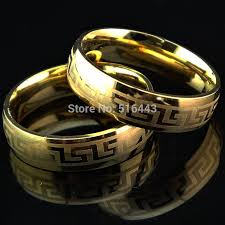 hot selling greek symbols 18k gold 316l snless steel ring for men womens wedding enement jewelry couple golden rings a139 in wedding bands from