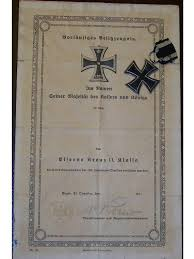 ww medal iron cross cl ek w diploma infantry decoration   ww1 medal iron cross 2cl ek2 w diploma infantry decoration military merit 1914 18 kaiser