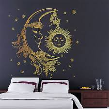 crescent moon with feathers vinyl wall