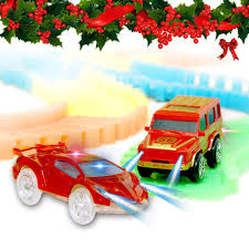 Led Light Toy Car Light Up Toy Cars With 4 Flashing Led Lights Glow In The Dark Racing Track Accessories Compatible With Most Tracks Pack Of 2