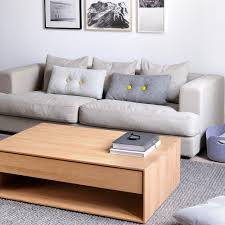 nordic t coffe table made of oak wood with drawer