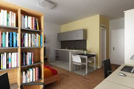 Bedroom:Modern Small Dorm Room Design Iwth Study Desk COmputer And Wooden  Floor Idea Attrtctive