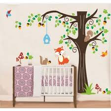 on wall art decals australia with tree wall sticker for nursery squirrel fox mushroom wall decal