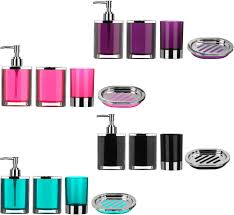 Purple Bathroom Accessories Set Piece Bathroom Accessories Set Plastic Body Chrome Effect Soap