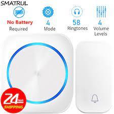 SMATRUL öz enerjili su geçirmez kablosuz kapı zili gece işık yok pil ab tak  ev kapı zili halkası 1 2 düğme 1 2 alıcı|Doorbells