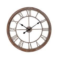 rustic wood metal skeleton clock