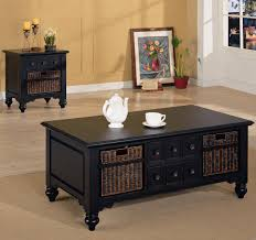 White Wood Coffee Table With Drawers Coffee Table With Wicker Basket Storage Modern Coffee Tables