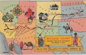 Fred Harvey Hotel Mileage Chart Postcard Kansas To