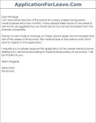 Letter To School Principle Sample Leave Letter To School Principal From Teacher Nemetas Format