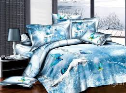 new arrival 100 cotton 3d ice blue erfly 4 piece bedding sets duvet cover