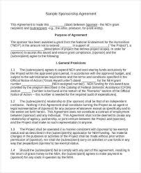 sponsorship agreement 10 sponsorship agreement free sample example format download