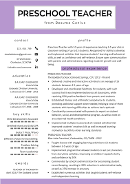 Preschool Teacher Resume Samples Writing Guide Resume Genius