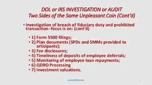 dol 4 form how to prepare for a dol or irs qualified plan audit