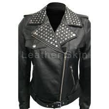 details about women brando black studs leather jacket