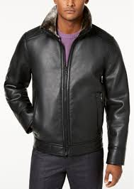 calvin klein men s faux shearling lined leather moto jacket