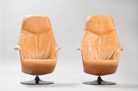 4 6 mid century modern leather swivel lounge chairs