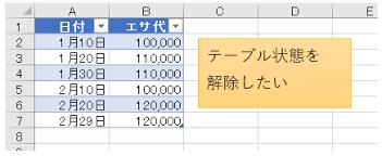 Excel テーブル 解除