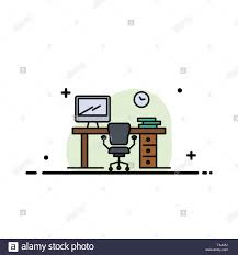 Office Banner Template Office Space Chair Office Table Room Business Flat Line