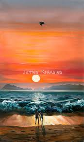 sunset in barra oil painting of a romantic couple on the beach in mexico by