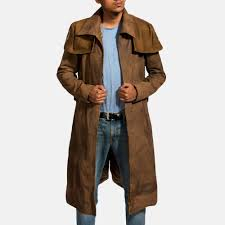 mens brown leather duster premium sheepskin leather 1