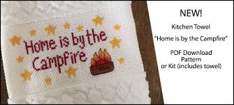 camping cross stitch kitchen towel home is by the campfire
