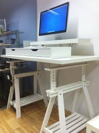materials expedit shelves vika amon corner desk top capita legs capita brackets description i ve really wanted a stand up desk for sometime and