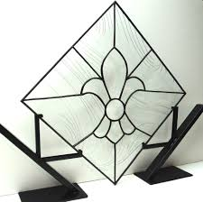 custom made stained glass fleur de lis panel p 15