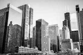 famous architectural buildings black and white. Famous Architectural Buildings Black And White Downtown Chicago Picture | Buy Canvas B