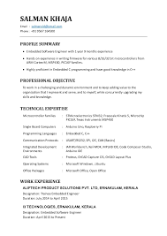 Resume Format For Embedded Engineers Resume Template Ideas