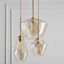 sculptural glass geo 3 light chandelier mixed west elm
