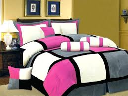 7 piece king pink black white gray bedding suede comforter set king bed in a bag