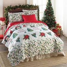 Bedding Christmas Quilts | eBay & 3 PC Merry Christmas Holiday Red Green Quilt Set w/ Shams Full Queen Bedding Adamdwight.com