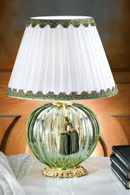 Green Table Lamp In Fluted Murano Glass Shade In White Pleated Silk Taffeta With Green Braid