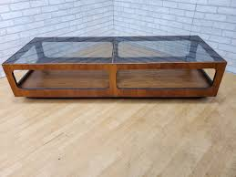 Square wood amp glass coffee table when its clear glass and beautiful wood that come into mix, nothing more is needed, i suppose. Mid Century Modern Lane Walnut And Smoked Glass Coffee Table Vintage Grind House