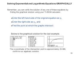 solving exponential and logarithmic equations graphically