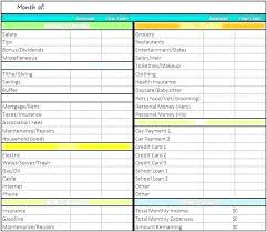Spreadsheet Examples Monthly Expenses Template Excel Budget
