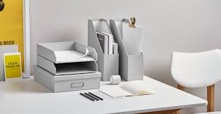 home office set. made essentials alida home office set document file stackable tray a4 box grey madecom