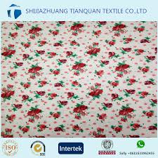 100 Cotton Flannel Custom Made Red Rose Print Fabric For Making Bed