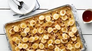 banana chocolate chip sheet pan pancake