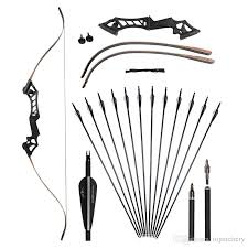 2018 30 50lbs 60 archery takedown recurve bow kit set black with 31 5 carbon arrow spine 500 550 hunting shooting targert practice from toparchery