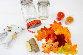 how to make easy fall leaf candle mason jar crafts easy diy fall candle jar