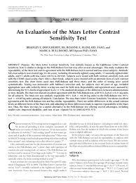 pdf an evaluation of the mars letter contrast sensitivity test