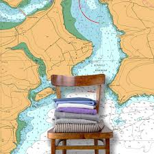Custom Printed Nautical Charts Wallpaper