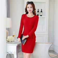 high quality office work. long sleeve elastic high quality office work dress with lining