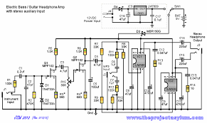 electric bass guitar headphone amp with stereo auxiliary input schematic diagram