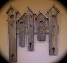 Reclaimed Wood Wall Coat Rack RUSTIC COAT HAT RACK RECLAIMED WOOD BIRD HOUSE DESIGN ENTRY WALL 68
