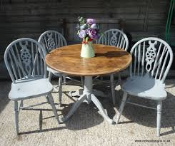 solid pine round kitchen dining table with 4 chairs
