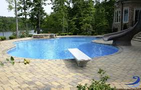 inground pools with diving board and slide. Freeform Shape Vinyl Liner Pool With Spa, Slide, And Diving Board. Inground Pools Board Slide P