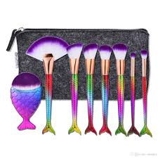 makeup blending brush. mermaid tail shape blending brush foundation cosmetic make up flat rainbow brushes set with bag 2805112 professional makeup artist