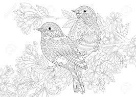 2 羽の鳥の着色のページフリーハンド スケッチ落書きと Zentangle 要素を持つ抗ストレス大人塗り絵を描画しま